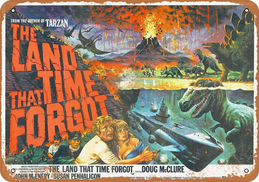 "Land That Time Forgot 1975 Movie Metal Sign 9"" x 12"""