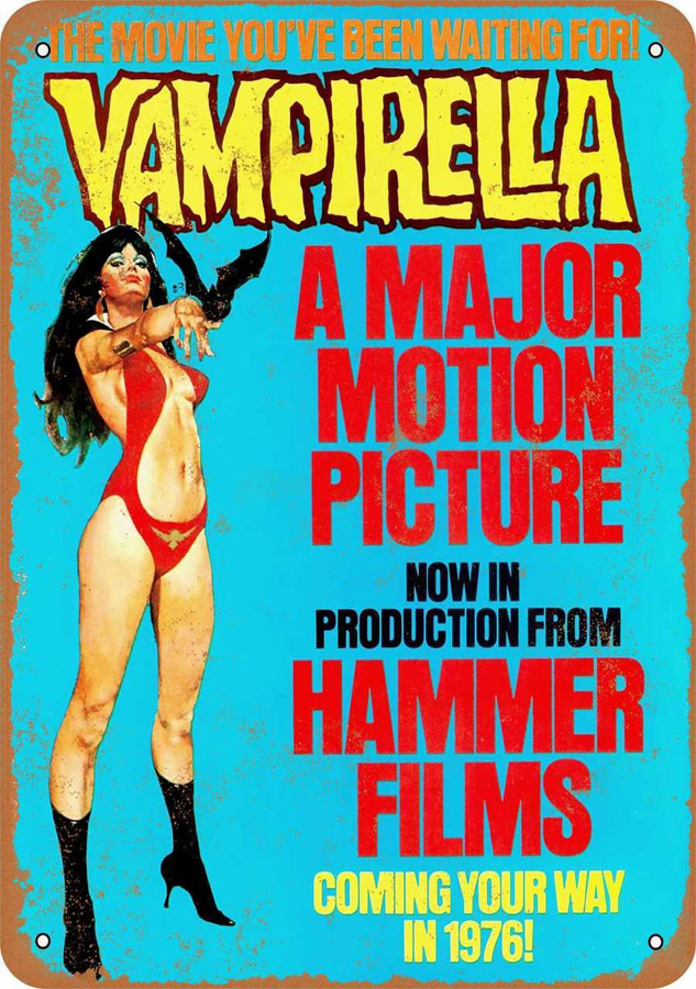 "Vampirella 1976 Movie Poster Metal Sign 9"" x 12"""