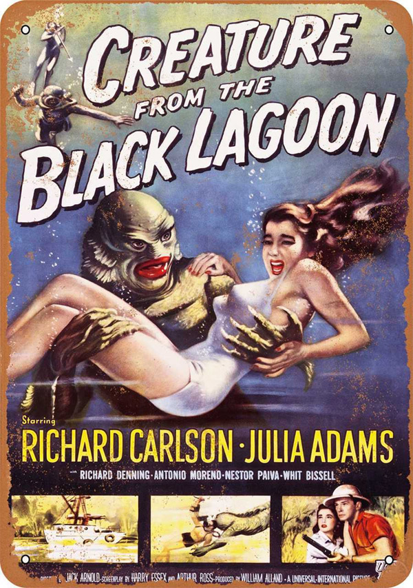 "Creature From The Black Lagoon 1954 Movie Poster Metal Sign 9"" x 12"""
