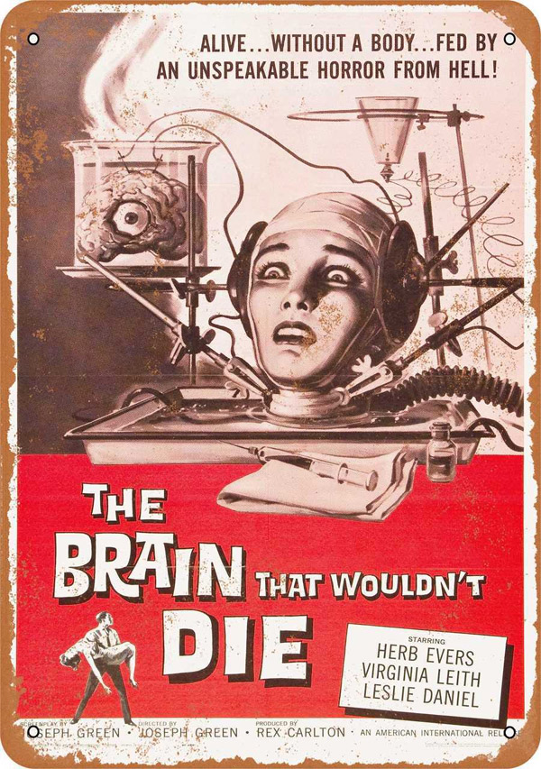 "Brain That Wouldn't Die 1962 Movie Poster Metal Sign 9"" x 12"""