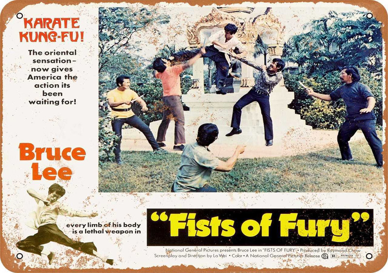 "Bruce Lee Fists or Fury 1973 Lobby Card Metal Sign 9"" x 12"""