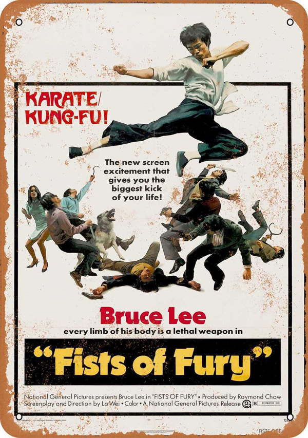 "Bruce Lee Fists or Fury 1973 Movie Poster Metal Sign 9"" x 12"""
