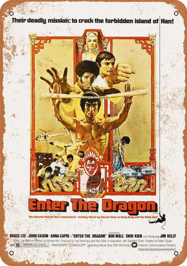 "Bruce Lee Enter The Dragon 1973 US Movie Poster Metal Sign 9"" x 12"""
