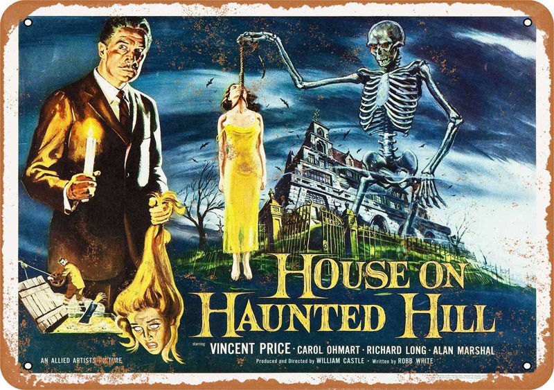 "House on Haunted Hill 1959 Vincent Price Movie Metal Sign 9"" x 12"""