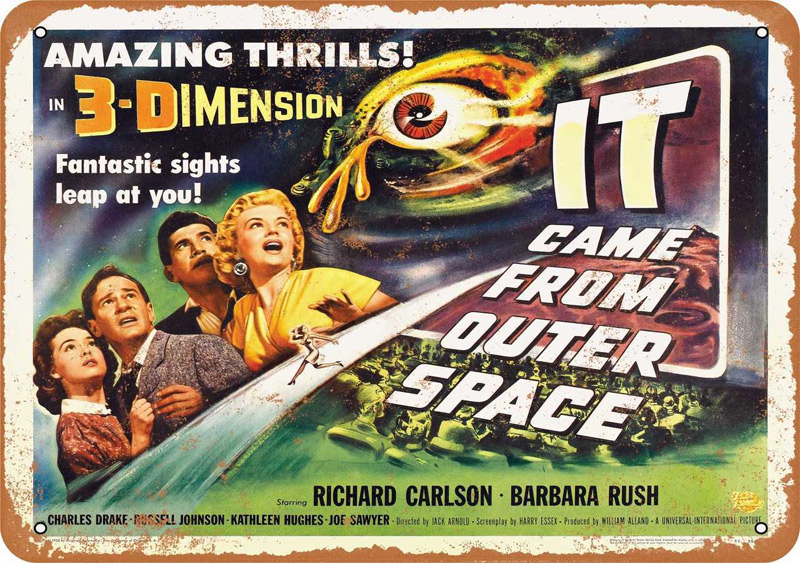 "It Came From Outer Space 1953 Movie Metal Sign 9"" x 12"""