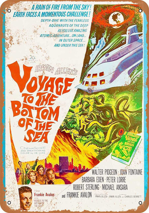 "Voyage to the Bottom of the Sea 1961 Movie Poster Metal Sign 9"" x 12"""