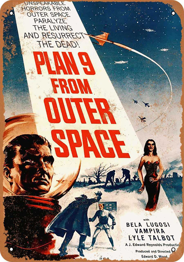 "Plan 9 From Outer Space 1959 Movie Poster Metal Sign 9"" x 12"""