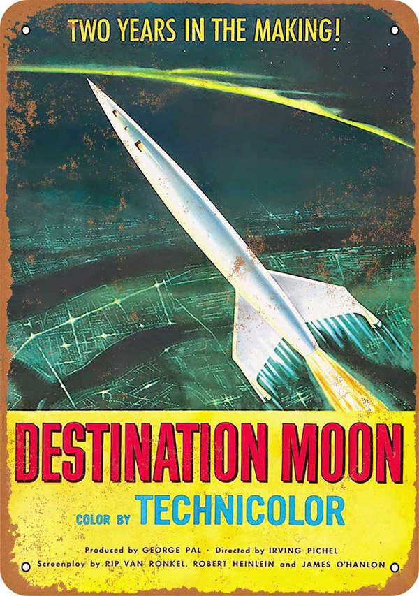 "Destination Moon 1950 Movie Poster Metal Sign 9"" x 12"""
