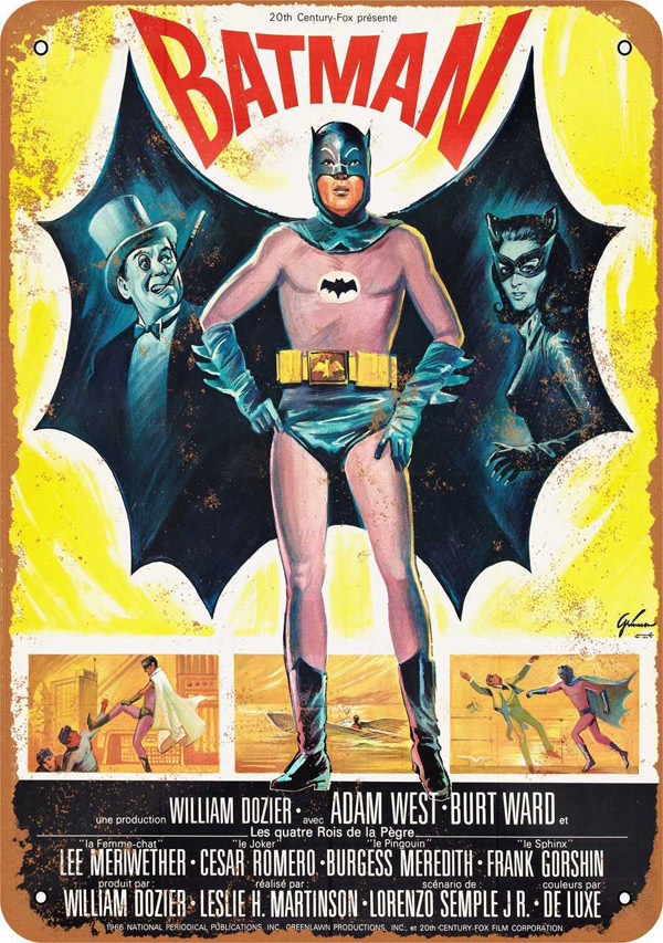 "Batman 1966 French Movie Poster Metal Sign 9"" x 12"""