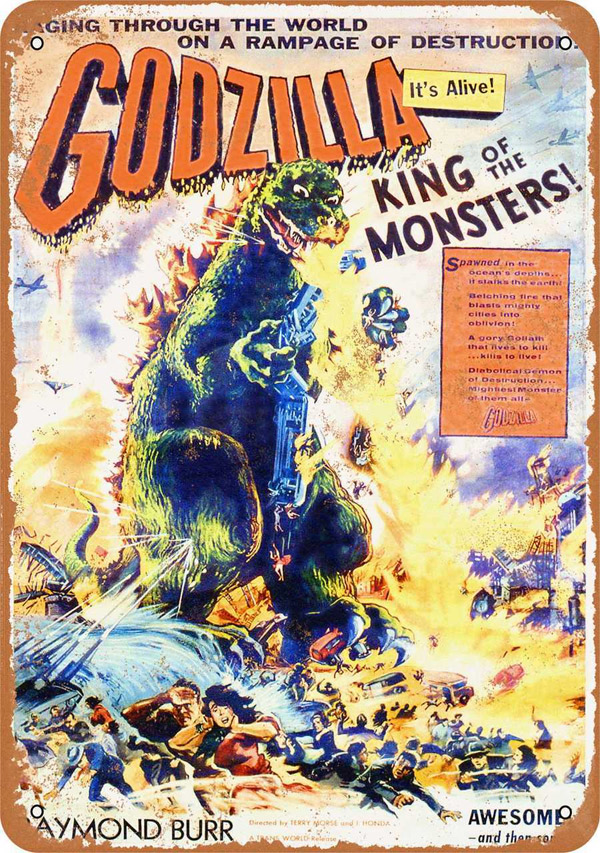 "Godzilla King Of The Monsters 1956 Movie Poster Metal Sign 9"" x 12"""