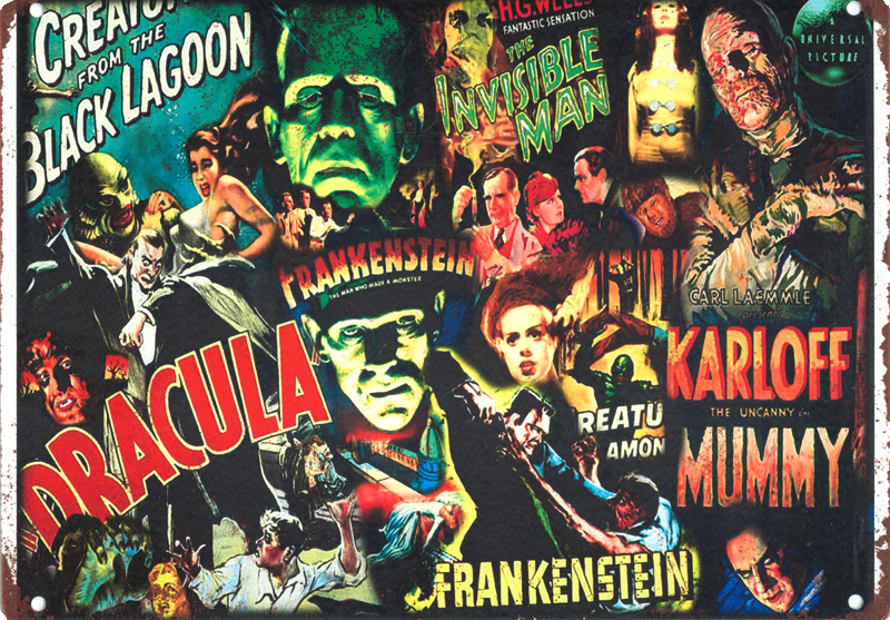 "Universal Monsters Collage Movie Poster Metal Sign 9"" x 12"""