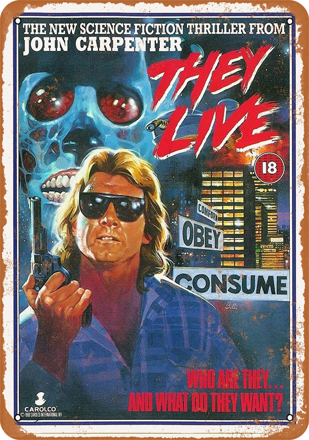 "They Live 1988 Movie Poster 10"" x 14"" Metal Sign"
