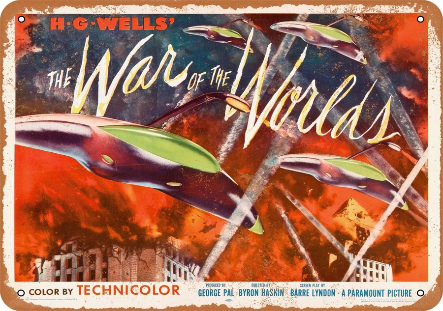 "War of the Worlds 1953 H.G. Wells 9"" x 12"" Metal Sign - Click Image to Close"