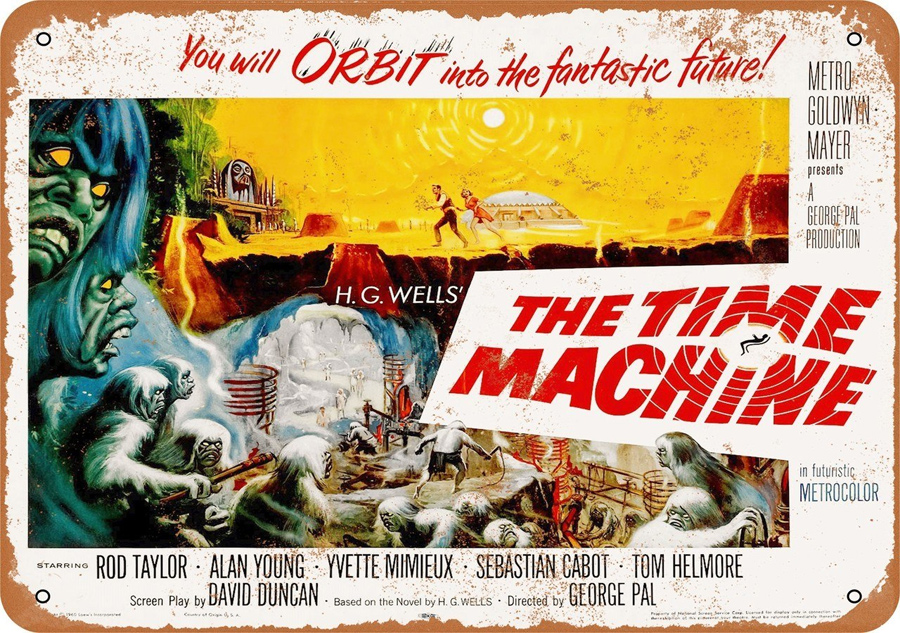 "Time Machine 1960 H.G Wells 10"" x 14"" Metal Sign"