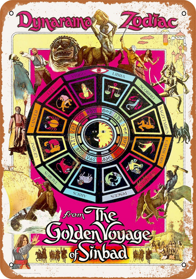 "Golden Voyage of Sinbad 1973 10"" x 14"" Metal Sign"