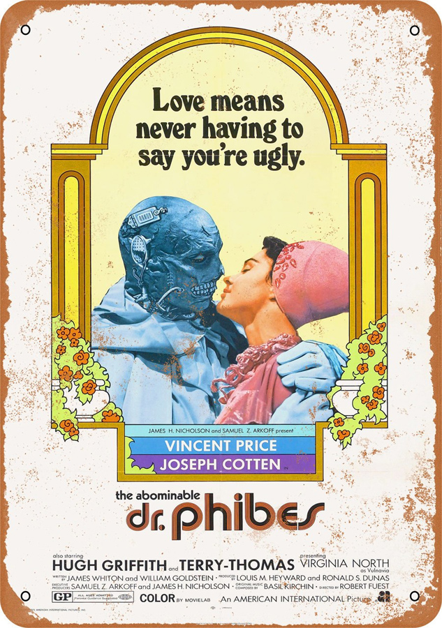 "Abominable Dr. Phibes 1971 10"" x 14"" Metal Sign Vincent Price"