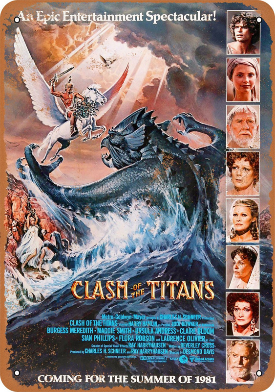 "Clash of the Titans 1981 Movie Poster 10"" x 14"" Metal Sign"