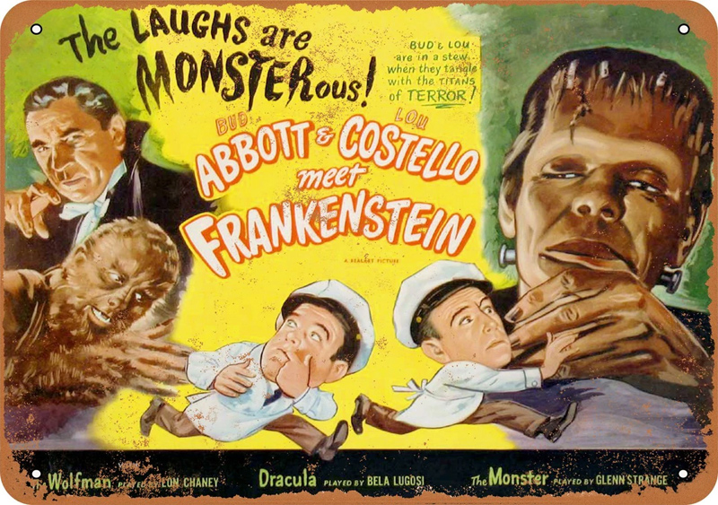"Abbott & Costello Meet Frankenstein 1948 10"" x 14"" Metal Sign"
