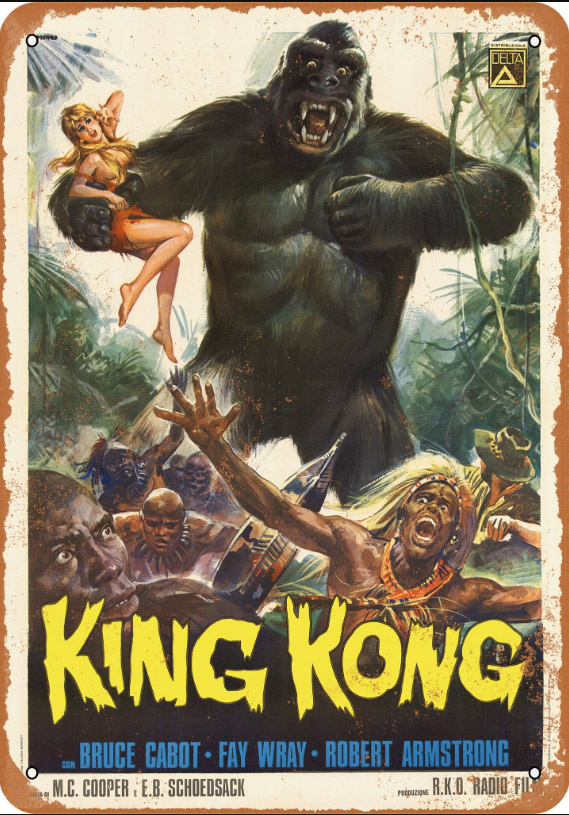 "King Kong 1933 Italian Poster 10"" x 14"" Metal Sign"