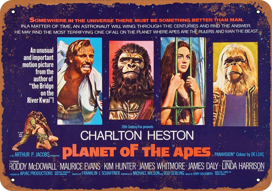 "Planet of the Apes 1968 10"" x 14"" Metal Sign"