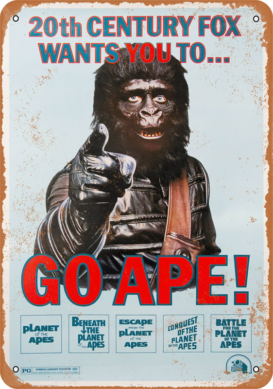 "Planet of the Apes Go Ape 10"" x 14"" Metal Sign"
