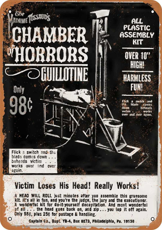 "Chamber of Horrors Guillotine 1966 10"" x 14"" Metal Sign"