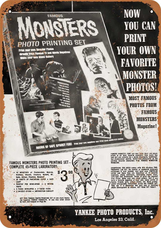 "Famous Monsters Photo Printing Set 1966 10"" x 14"" Metal Sign"