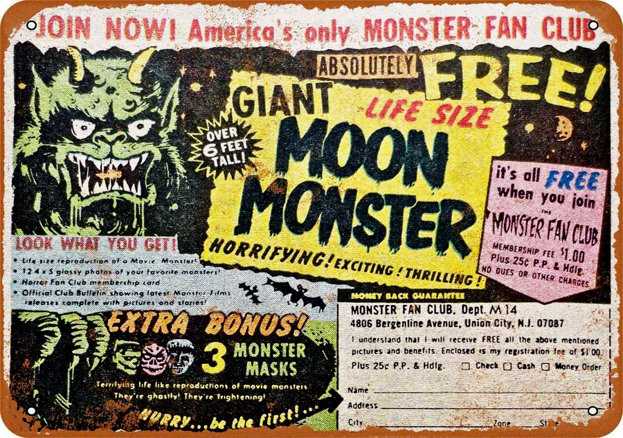 "Giant Moon Monster 1967 10"" x 14"" Metal Sign"