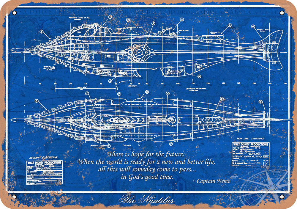 "Nautilus 1954 Blueprint 10"" x 14"" Metal Sign"