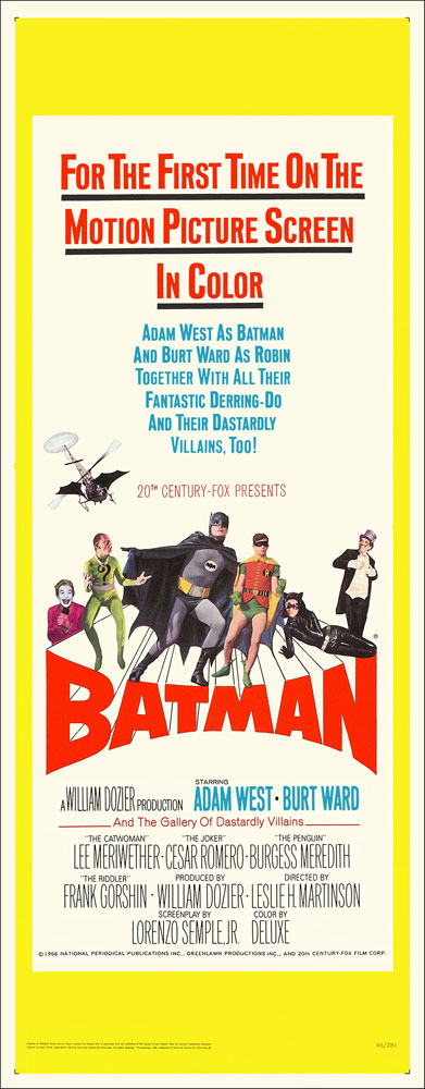 Batman 1966 Adam West & Burt Ward 14X36 Insert Reproduction Poster