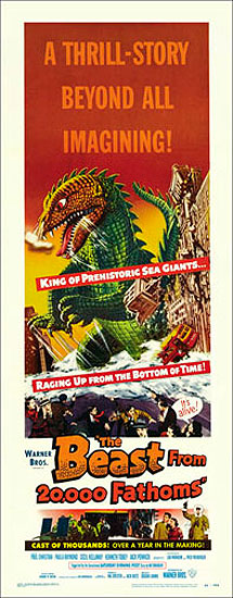 Beast from 20,000 Fathoms 1953 Insert Card Poster Reproduction Ray Harryhausen