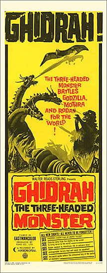 Godzilla Ghidrah the Three-Headed Monster 1965 Insert Card Poster Reproduction