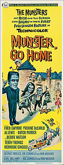 Munsters Munster Go Home 1966 Insert Card Poster Reproduction