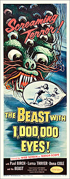 Beast with 1,000,000 Eyes 1955 Insert Card Poster Reproduction