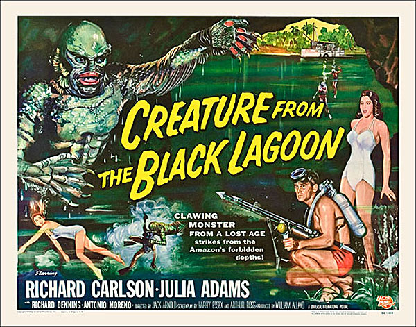 "Creature from the Black Lagoon 1954 Style ""B"" Half Sheet Poster Reproduction"