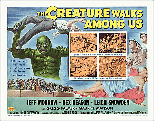 "Creature Walks Amoung Us 1956 Style ""A"" Half Sheet Poster Reproduction"