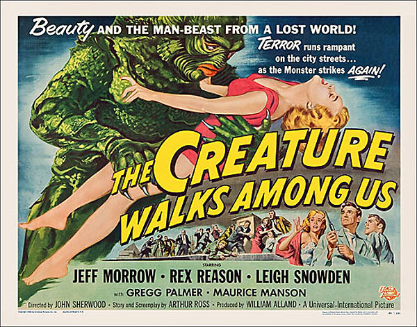 "Creature Walks Amoung Us 1956 Style ""B"" Half Sheet Poster Reproduction"