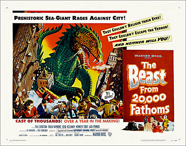 Beast fron 20,000 Fathoms 1953 Half Sheet Poster Reproduction