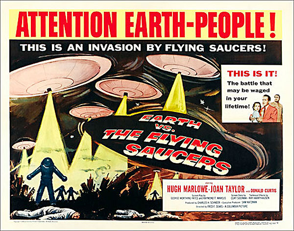 "Earth VS. The Flying Saucers 1956 Style ""A"" Half Sheet Poster Reproduction"