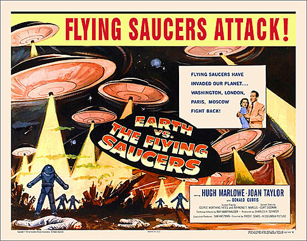 "Earth VS. The Flying Saucers 1956 Style ""B"" Half Sheet Poster Reproduction"