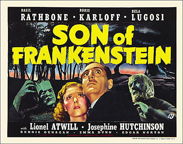 Son of Frankenstein 1939 Style A Half Sheet Poster Reproduction