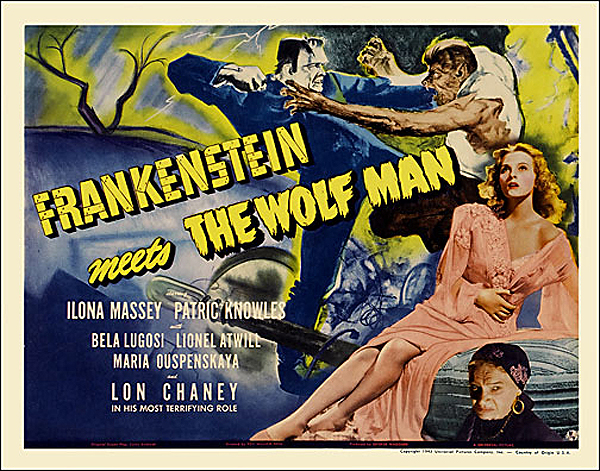 Frankenstein Meets The Wolf Man 1943 Half Sheet Poster Reproduction
