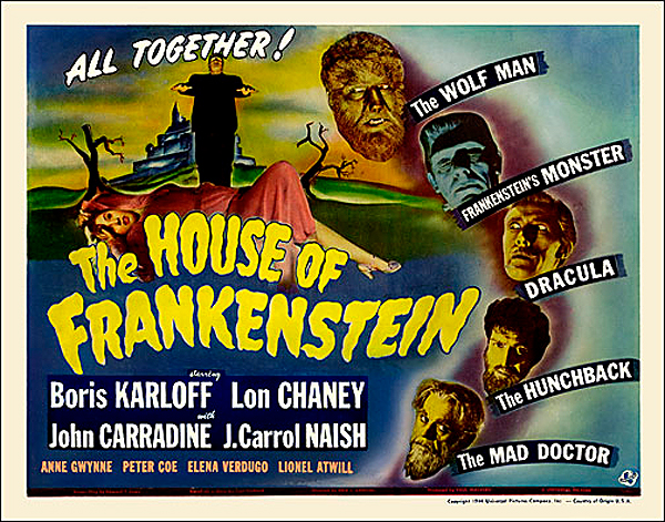 House of Frankenstein 1944 Half Sheet Poster Reproduction