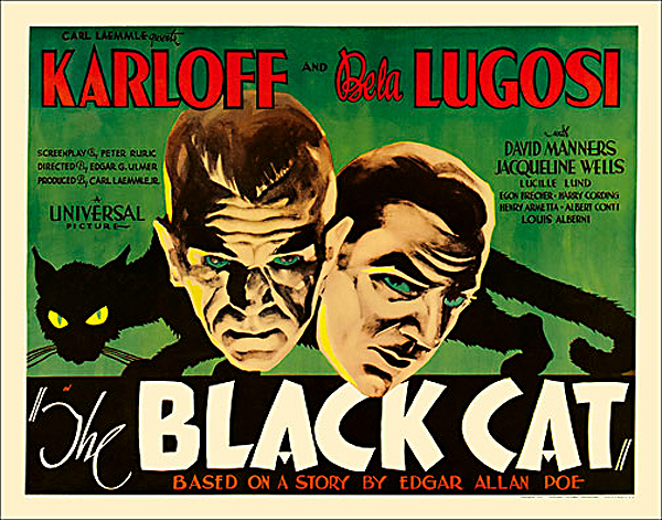 Black Cat, The 1934 Half Sheet Poster Reproduction Bela Lugosi and Boris Karloff