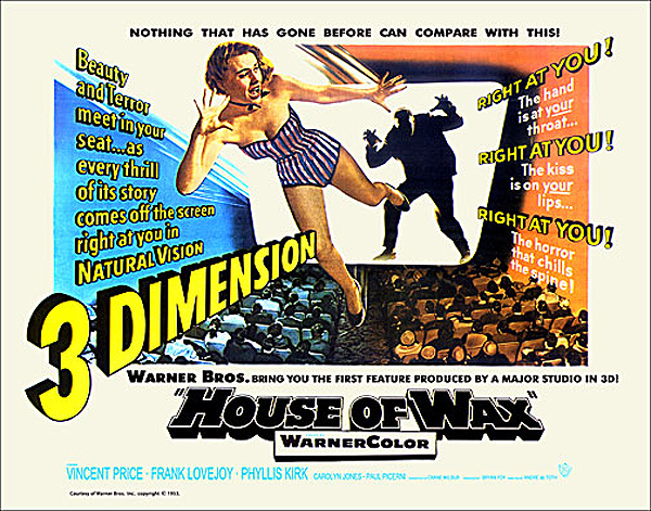 House of Wax 3D 1953 Half Sheet Poster Reproduction Vincent Price