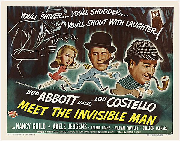 Abbott & Costello Meet The Invisible Man 1951 Half Sheet Poster Reproduction