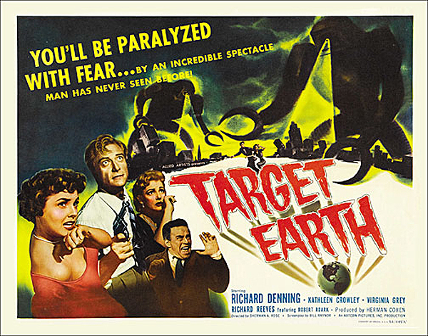 Target Earth 1954 Half Sheet Poster Reproduction