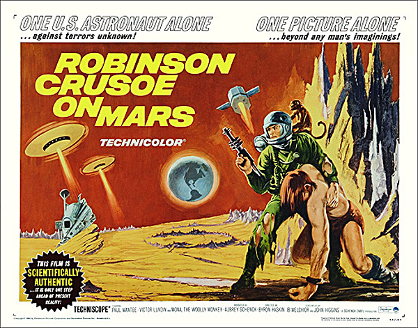 Robinson Crusoe on Mars 1964 Half Sheet Poster Reproduction