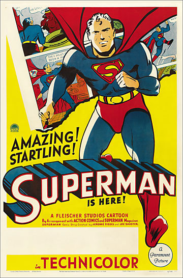 Superman 1941 Fleischer Cartoon One Sheet Poster Reproduction