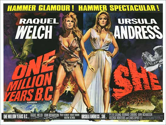 One Million Years B.C. and SHE 1969 British Quad Double Bill Poster Reproduction
